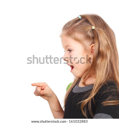 cute surprised little girl closeup - stock photo