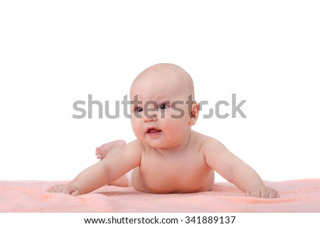 cute sweet little baby closeup - stock photo