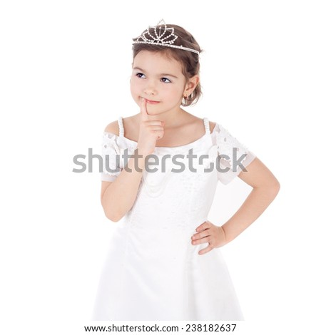 cute sweet little child dressed as a princess thinking - stock photo