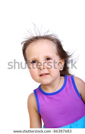 cute sweet pretty little child with the blowing hair - stock photo