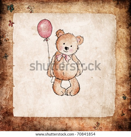 Cute teddy bear holding pink balloon on grunge background - stock photo