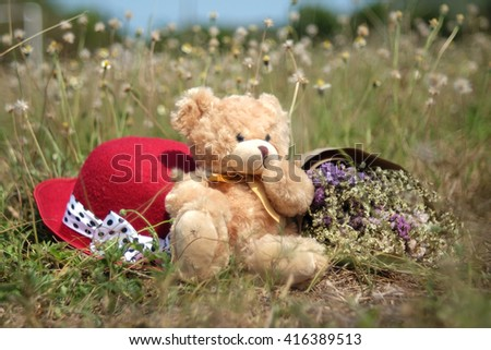 Cute teddy bear sitting on dry grass and polka dot red hat,statice flowers bouquet on blue sky background. Concept thinking about love and relationship,selective focus - stock photo