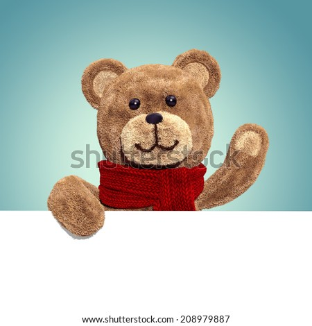 cute teddy bear toy, 3d cartoon character holding banner - stock photo