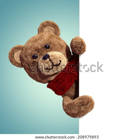 cute teddy bear toy, 3d cartoon character holding blank page - stock photo