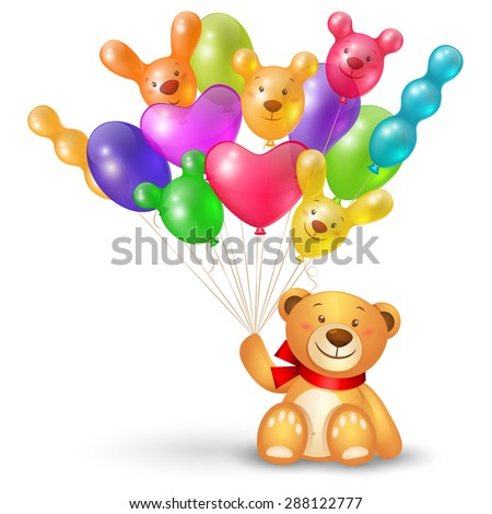 Cute teddy bear with a bunch of balloons unusual shaped  - stock photo