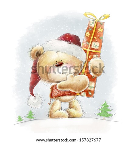 Cute teddy bear with the big red gift in the Santa hat.Childish illustration in sweet colors.Background with bear and gift. Hand drawn teddy bear.Christmas greeting card. Merry Christmas. New year  - stock photo