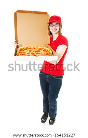 Cute teenage girl delivering pepperoni pizza.  Full lbody isolated on white.   - stock photo