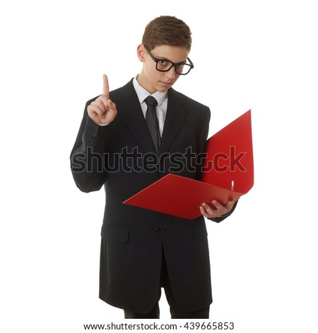 Cute teenager boy in back business suit with a red folder over white isolated background, half body, future career concept - stock photo