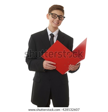 Cute teenager boy in back business suit with red folder over white isolated background, half body, future career concept - stock photo