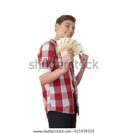 Cute teenager boy in red checkered shirt with money euro in hand over white isolated background, half body - stock photo