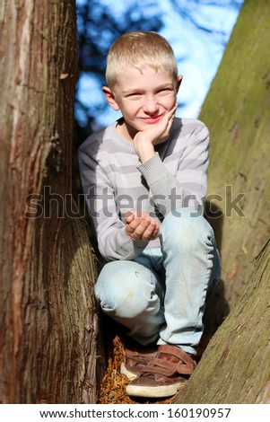 Cute teenager boy sitting between the branches of the old big tree in the forest on a sunny autumn day - stock photo