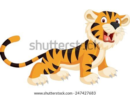Cute tiger cartoon roaring - stock photo