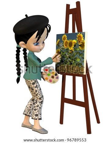 Cute toon artist girl with pigtails and beret painting sunflowers, 3d digitally rendered illustration - stock photo