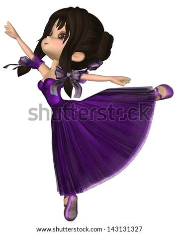 Cute toon ballerina wearing a purple tutu with a long skirt in the Romantic ballet style, 3d digitally rendered illustration - stock photo