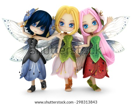 Cute toon fairy friends posing together on a white isolated background.  Part of a little fairy series. - stock photo