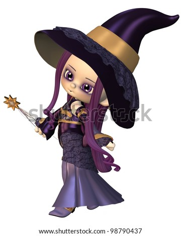 Cute toon female elf wizard in purple hat and robes holding a magic wand, 3d digitally rendered illustration - stock photo