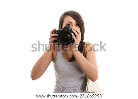 Cute tourist taking picture - stock photo