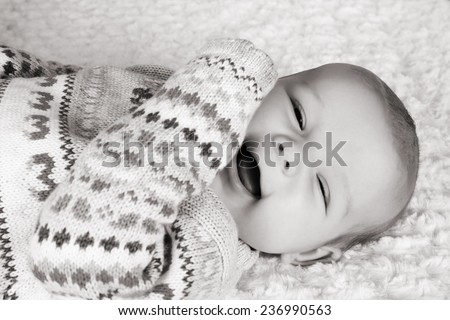 Cute two month old smiling baby girl  - stock photo