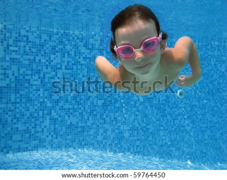 Cute underwater kid - stock photo