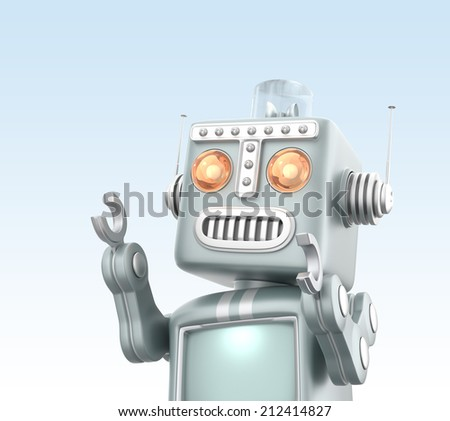 Cute vintage robot isolated on light blue background - stock photo