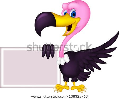 cute Vulture cartoon with blank sign - stock photo