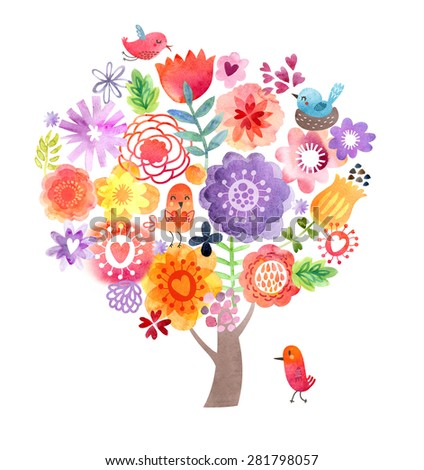 Cute Watercolor Tree - stock photo