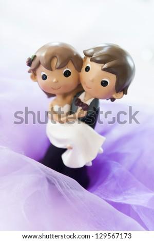 Cute Wedding Couple made from plasticine - stock photo