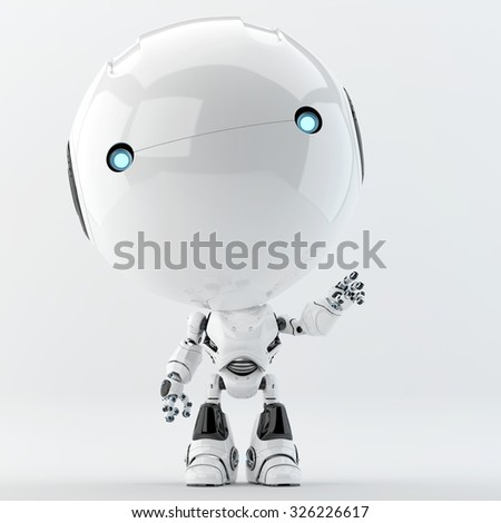 Cute white little  character - robotic toddler greeting you - stock photo