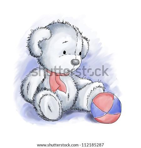 Cute white teddy bear with ball - stock photo