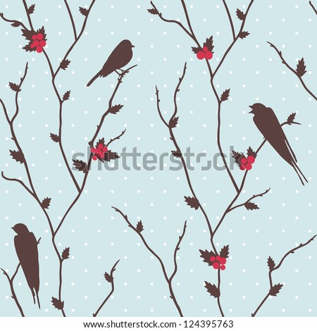 Cute winter card with birds and holly - stock photo