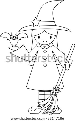 Cute Witch with Bat and Broom - stock photo