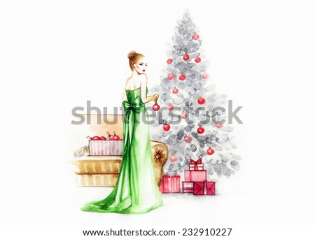 Cute Woman decorating .Christmas tree - stock photo