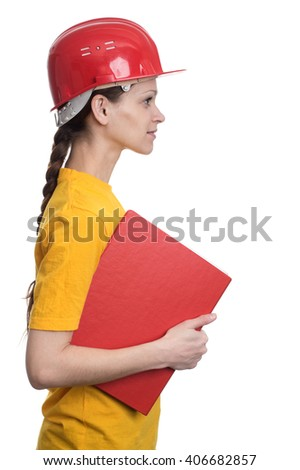 Cute woman in a protective helmet. isolated on white background - stock photo