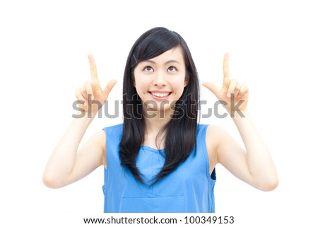 Cute woman pointing copy space, isolated on white background. - stock photo