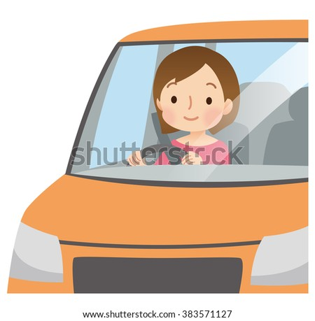 """Cute woman to driving the car """"orange color vehicle"""" - stock photo"""
