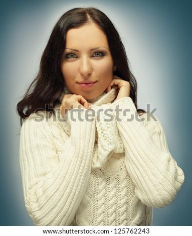 Cute woman, winter fashion - stock photo