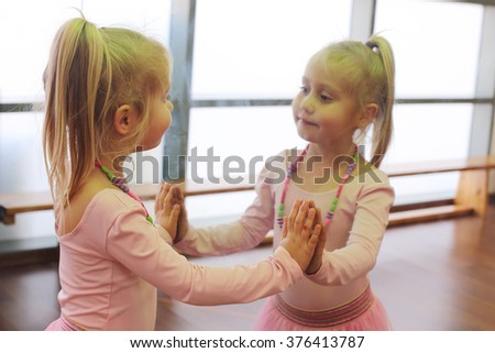 Cute 5 years old ballerina - stock photo
