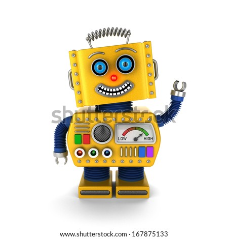Cute yellow vintage toy robot over white background waving hello - stock photo