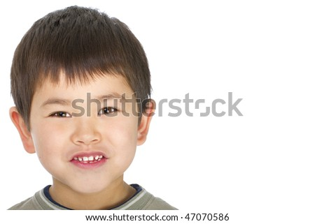 Cute young asian boy with great smile isolated on white background - stock photo
