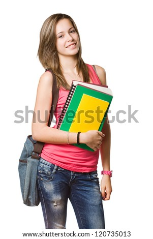 Cute young attractive student girl holding colorful exercise books. - stock photo