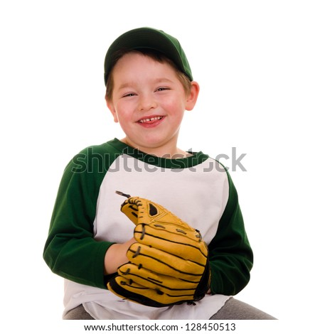 Cute young baseball or t-ball player isolated on white - stock photo
