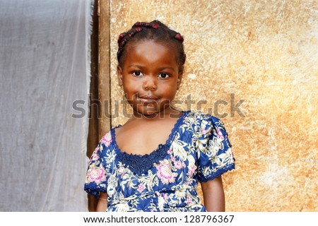Cute young black African girl - stock photo