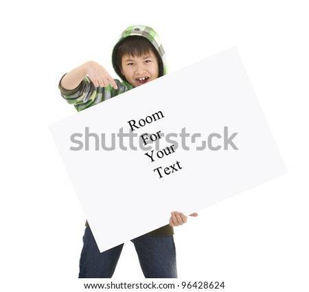 Cute young boy holding a sign with room for your text isolated on white background - stock photo