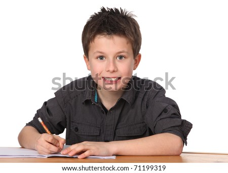 cute young boy learning with white background - stock photo