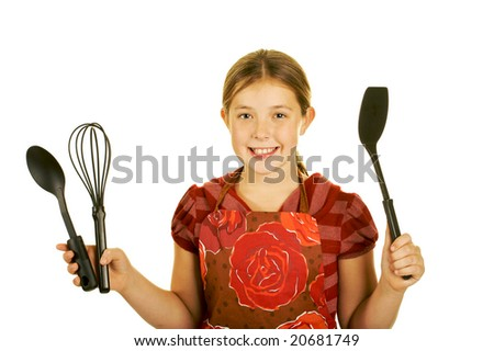 cute young brunette cook - stock photo
