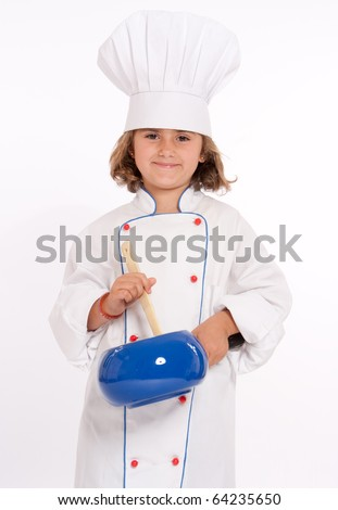 Cute young girl dressed as a chef with a spoon and casserole - stock photo