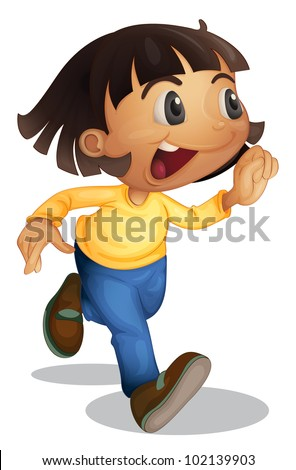 Cute young girl running on white - EPS VECTOR format also available in my portfolio. - stock photo