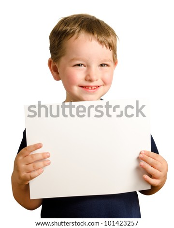 Cute young happy preschooler boy holding up blank sign with room for copy isolated on white - stock photo