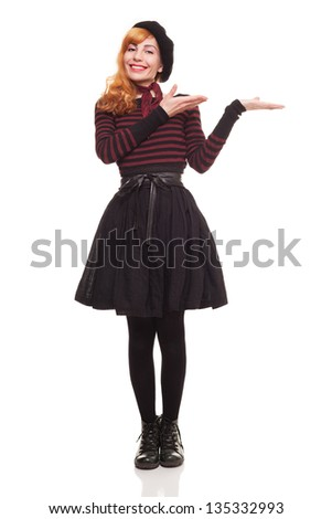 cute young lady offering something with her empty hands isolated on white background - stock photo