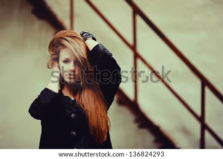 Cute young lovely red hair girl - stock photo